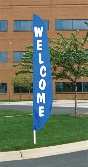 Welcome Feather Flag 12 ft  Royal Blue and White