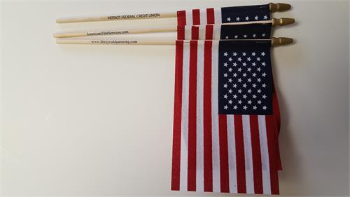 USA STICK FLAGS 4 X 6 IN IMPRINTED WITH TEXT