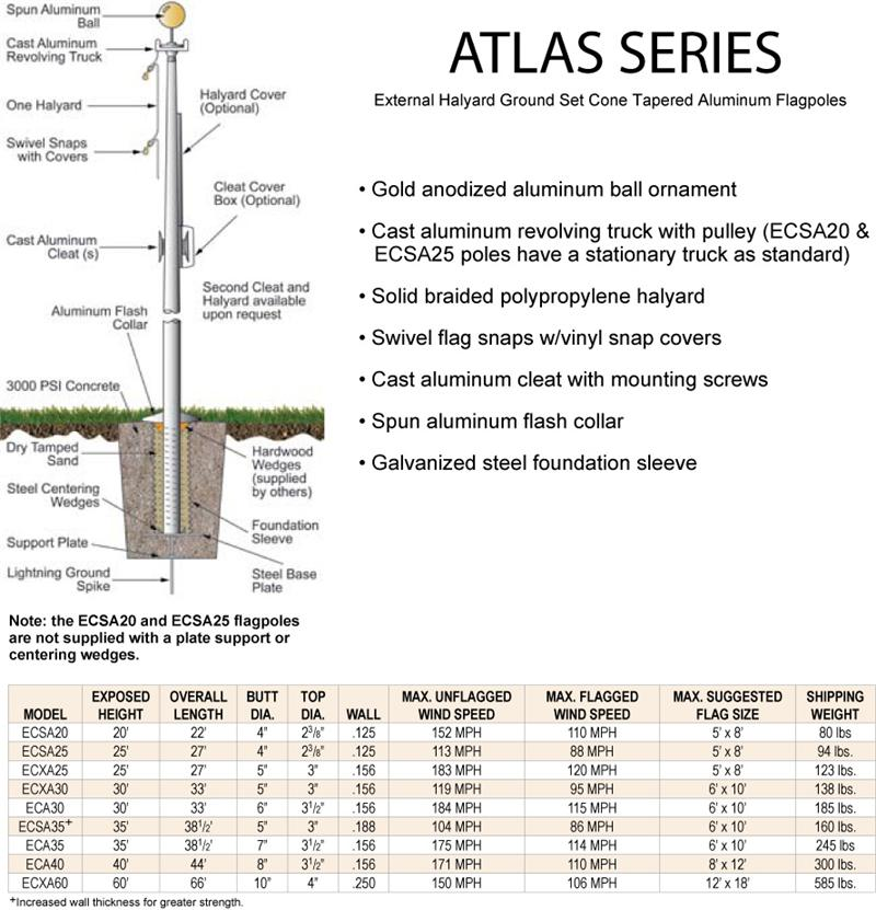 Flagpole Atlas Series $460