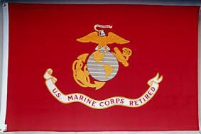 MARINE CORPS RETIRED FLAG, $ 14.00, MADE IN THE USA