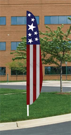 PATRIOTIC FEATHER FLAG ALL SEWN 12 FT, MADE IN THE USA