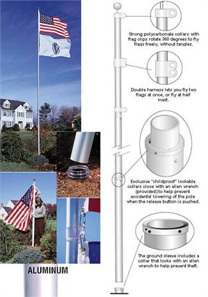 TopFlight Telescoping 20 ft Flagpole no tangles
