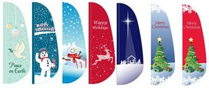 Holiday Feather Flag 10 ft  Nylon Made in the USA. Christmas Flag, Peace on Earth Flag , Happy Holidays Flag, Snowman Flag, Nativity Scene Flag.