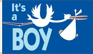 IT'S A BOY FLAG 3 FT X 5 FT NYLON , BRILLIANT COLORS, MADE IN THE USA