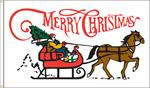 XMAS SLEIGH FLAG 3 FT X 5 FT NYLON , BRILLIANT COLORS, MADE IN THE USA